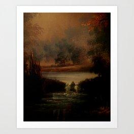 Overlooking the waters Art Print
