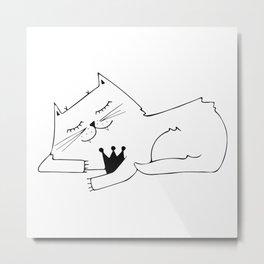 Scandinavian style cat and crown art print Metal Print