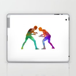 Wrestlers wrestling men 01 in watercolor Laptop & iPad Skin