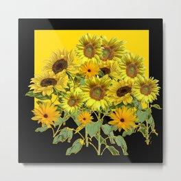 GOLDEN -BLACK SUNNY YELLOW SUNFLOWERS FIELD ART Metal Print