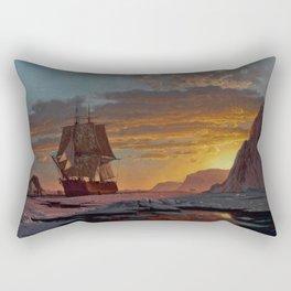 Midnight Sun, The Arctic by William Bradford - Hudson River School Vintage Painting Rectangular Pillow