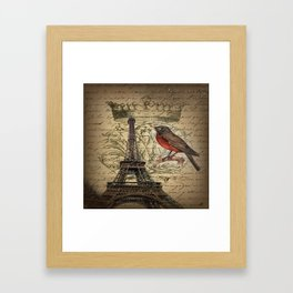 I love Paris Shabby chic Robin French Scripts Jubilee Crown Vintage Paris Eiffel Tower Framed Art Print