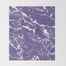 Modern trendy purple ultra violet  white marble  pattern Throw Blanket