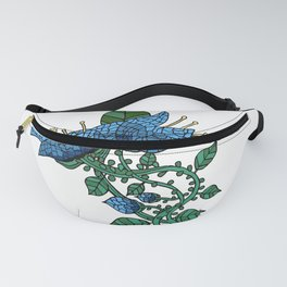 Mosaic Flower in Blue Fanny Pack