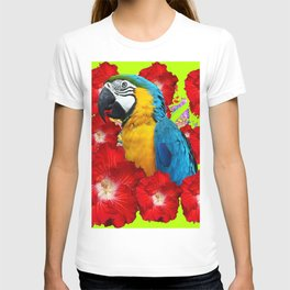 Chartreuse Red Hibiscus Flowers & Blue Macaw Parrot T-shirt