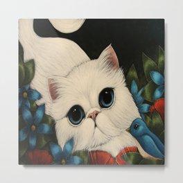 WHITE PERSIAN CAT, BLUE BIRD & FLOWERS Metal Print