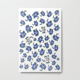 Blue Rose Pattern missing roses  Metal Print