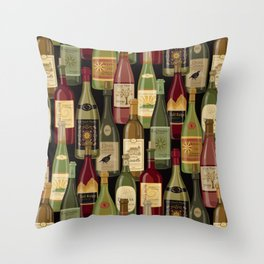 Wine Bottles Throw Pillow