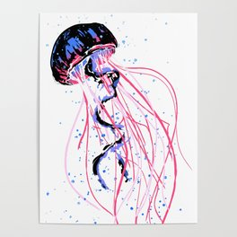 the dance - jellyfish and bubble (pink / purple) Poster