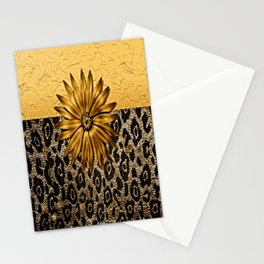 Animal Print Brown and Gold Animal Medallion Stationery Cards