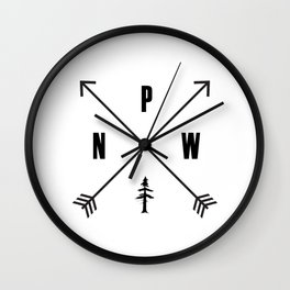 PNW Pacific Northwest Compass - Black on White Minimal Wall Clock