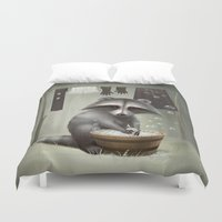 raccoon Duvet Covers featuring Raccoon by Antracit