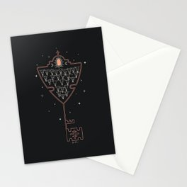 Key to Tejas - Black & Neon Peach Stationery Cards