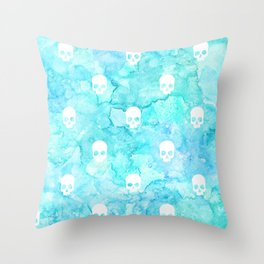 Watercolor sea with skulls Throw Pillow