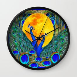 FULL GOLDEN MOON BLUE PEACOCK  FANTASY ART Wall Clock