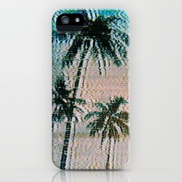 Analogue Glitch Palm Trees Sunrise iPhone Case