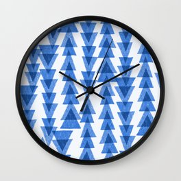 Hand drawn geometric triangle pattern in cool blue color pallette Wall Clock