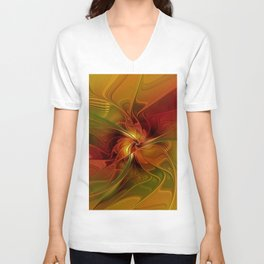 Warmth, Abstract Fractal Art Unisex V-Neck