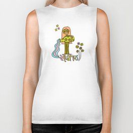 Age of Aquarius zodiac art by surfy birdy Biker Tank
