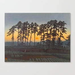 Japanese Woodblock Print Morning Sunrise Farm Tree Silhouette Canvas Print