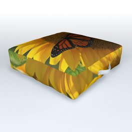 The butterfly the bee and the sunflower Outdoor Floor Cushion