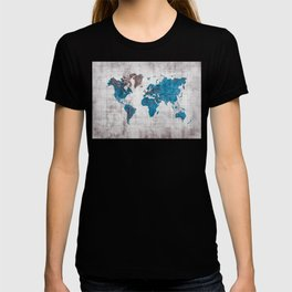 world map 96 blue #worldmap #map T-shirt