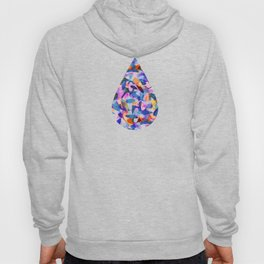 Multicolour Watercolor Spring Abstract, Ocean Blue on Orange, Lavender, Pink Oval Circle Geo Pattern Hoody
