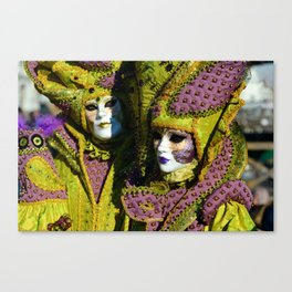 Glamorous Couple With Carnival Costumes Canvas Print