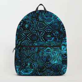 Starry Deep Blue Night Sky , Abstract Geometric Pattern with Moon Lit Domino Stars Backpack