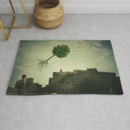 Greening of the foggy town Rug