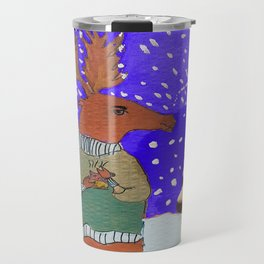 Moose with Tea Travel Mug