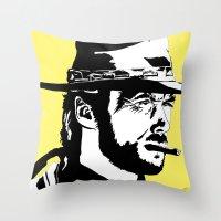 clint barton Throw Pillows featuring Clint by Gary Barling