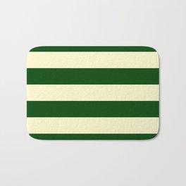 Dark Emerald Green and Cream Large Stripes Bath Mat