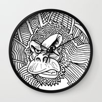 planet of the apes Wall Clocks featuring Rise of the Dawn of the Planet of the Psychedelic Apes by The Rural drawer by Inky Doodles