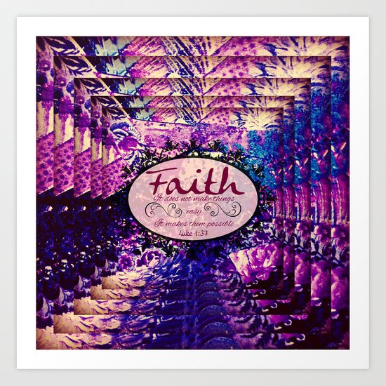 Faith Colorful Purple Christian Luke Bible Verse
