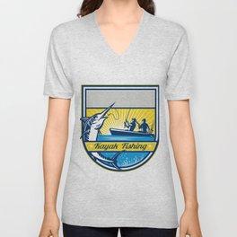 Kayak Fishing Blue Marlin Badge Unisex V-Neck