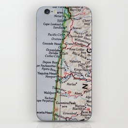 Vintage Oregon Coast Map #traveller #wanderlust #Pacific iPhone Skin