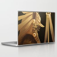black and gold Laptop & iPad Skins featuring Black & Gold by Cruz'n Creations