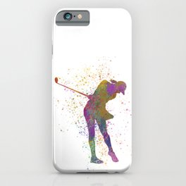 Female golf player competing in watercolor 01 iPhone Case