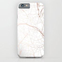Paris France Minimal Street Map - Rose Gold Glitter iPhone Case