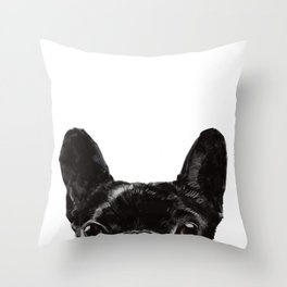 Peeking French Bulldog Throw Pillow