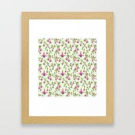 Watercolour Fuchsia Flower Pattern - Mint Framed Art Print