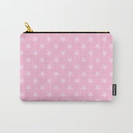 Pink Lace Pink on Cotton Candy Pink Stars Carry-All Pouch