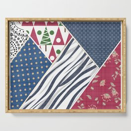 Abstract pattern .Textile patchwork patchwork . Serving Tray