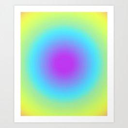 Round Gradien Neon Art Print