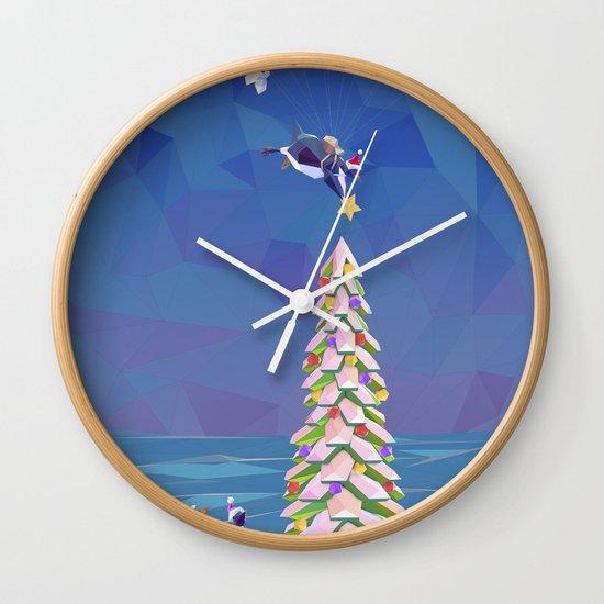 Christmas Flight Wall Clock