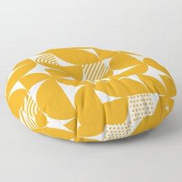 Mustard Mid Century Bauhaus Semi Circle Pattern Floor Pillow
