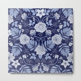 Light Blue, Cobalt Blue, & White Floral Pattern Metal Print