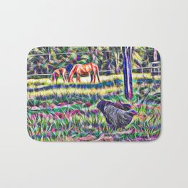 horses and hens in a field Bath Mat