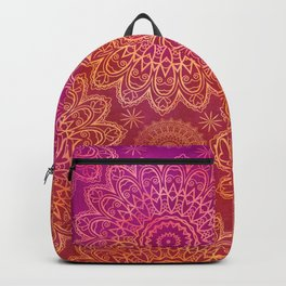 Mandala Watercolor Pattern pink orange Backpack